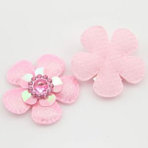 Fabric embellishment, pink, 3.5cm x 0.5cm, 2 slices, (DPD020)